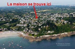 the beach of perros guirec from the sky